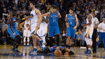 Zaza Pachulia was assessed a flagrant-1 for his hard first-half hit on Russell Westbrook.
