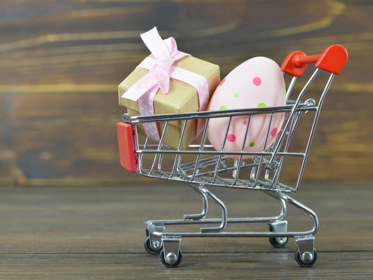 Easter shopping. Gift and Easter egg