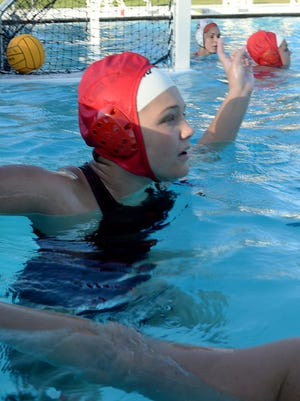 Sydney Hurst, the top scorer for the Royal High School girls water polo team, is one of the top 2-meter shooters in the area.
