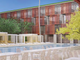 The Orchid Tree Inn is proposed as a redevelopment of the Palm Springs Community Church and the adjoining bungalows. This sketch depicts a view of the proposed pool area.