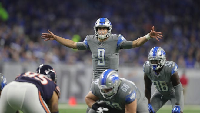 Lions QB Matthew Stafford lines up against the Bears during the first quarter of the Lions' 20-10 win on Saturday, Dec. 16, 2017, at Ford Field.