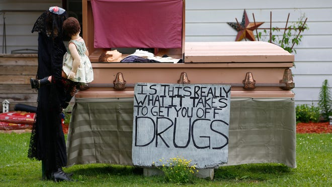 Stoney Oney put up a display warning drivers on Burger Avenue about the consequences of drug use.