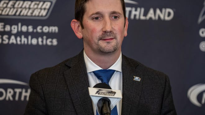 Brian Burg, new head coach of the Georgia Southern men's basketball team, on Friday, April 3, in Statesboro.