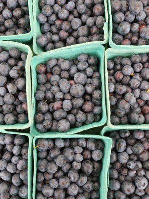 Fresh blueberries from Fifers Orchard for sale at the Locker man Street Farmers Market.