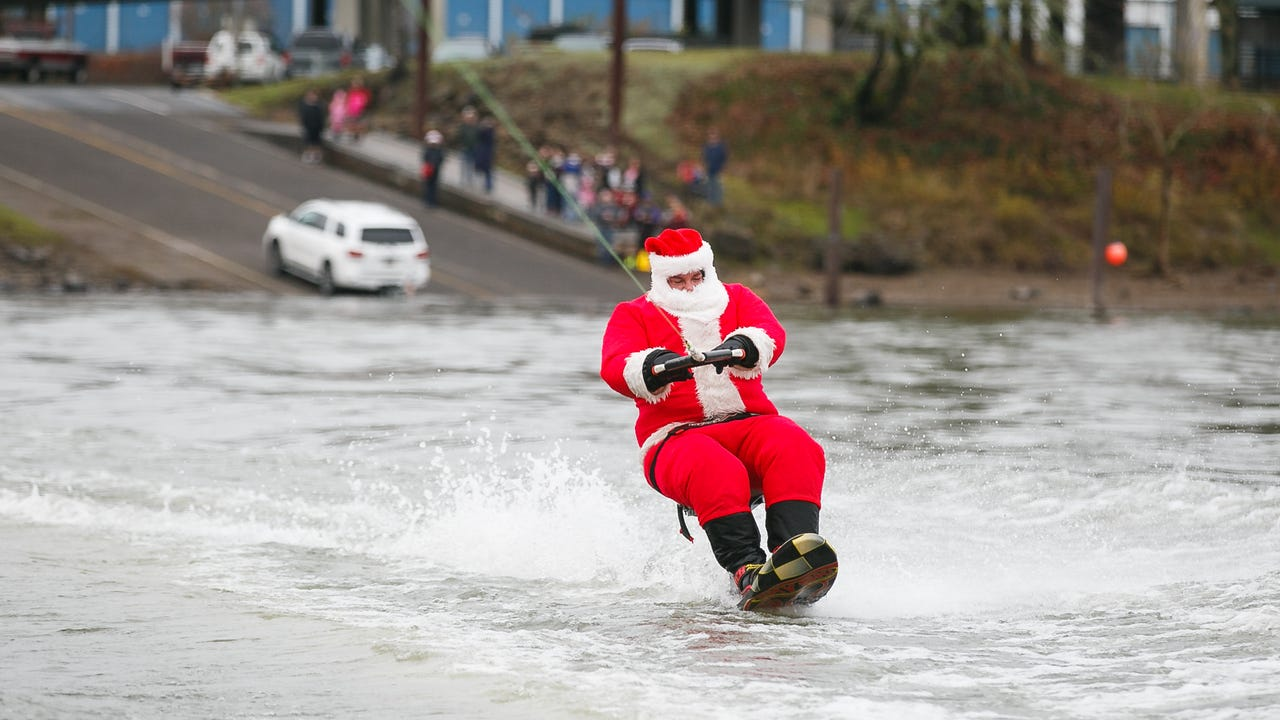 Since 1985, Dale Johnson has dressed up in Santa's digs and skied on the Willamette River.