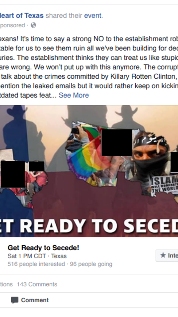 This ad was among the Russian-backed Facebook pages that targeted the 2016 elections, House Democrats say.