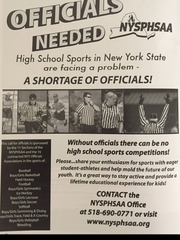 New York State Public High School Athletic Association recruiting ad in a state basketball championship pamphlet