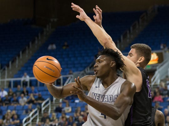 Nevada's Darien Williams drives against Grand Canyon in their basketball game at Lawlor Events Center in Reno, Nevada on Sunday, Oct. 22, 2017.