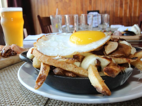 Poutine with a fried egg at the Peekskill Brewery.
