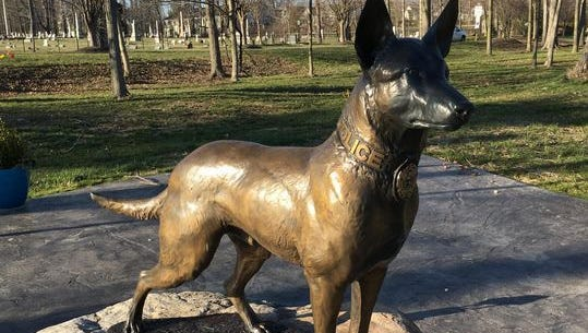 This bronze police dog stands at attention at the Ohio Police K9 Memorial in Amelia.
