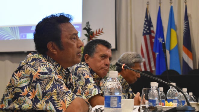 Republic of Palau President Tommy Remengesau Jr. speaks at the 22nd Micronesian Islands Forum at the Hyatt Regency Guam on May 2, 2017.