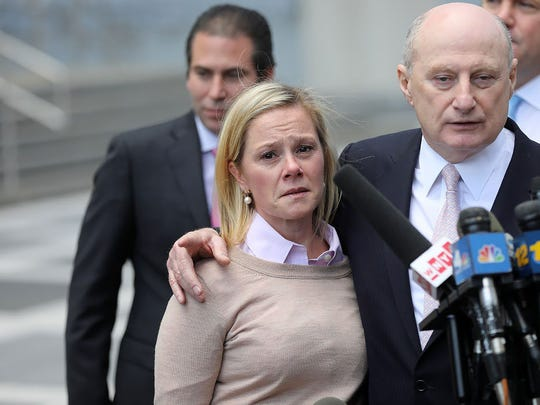 Bridget Anne Kelly was visually upset when she faced the press with her attorney, Michael Critchley, after being found guilty in the Bridgegate trial at federal court in Newark on Friday, Nov. 4, 2016.