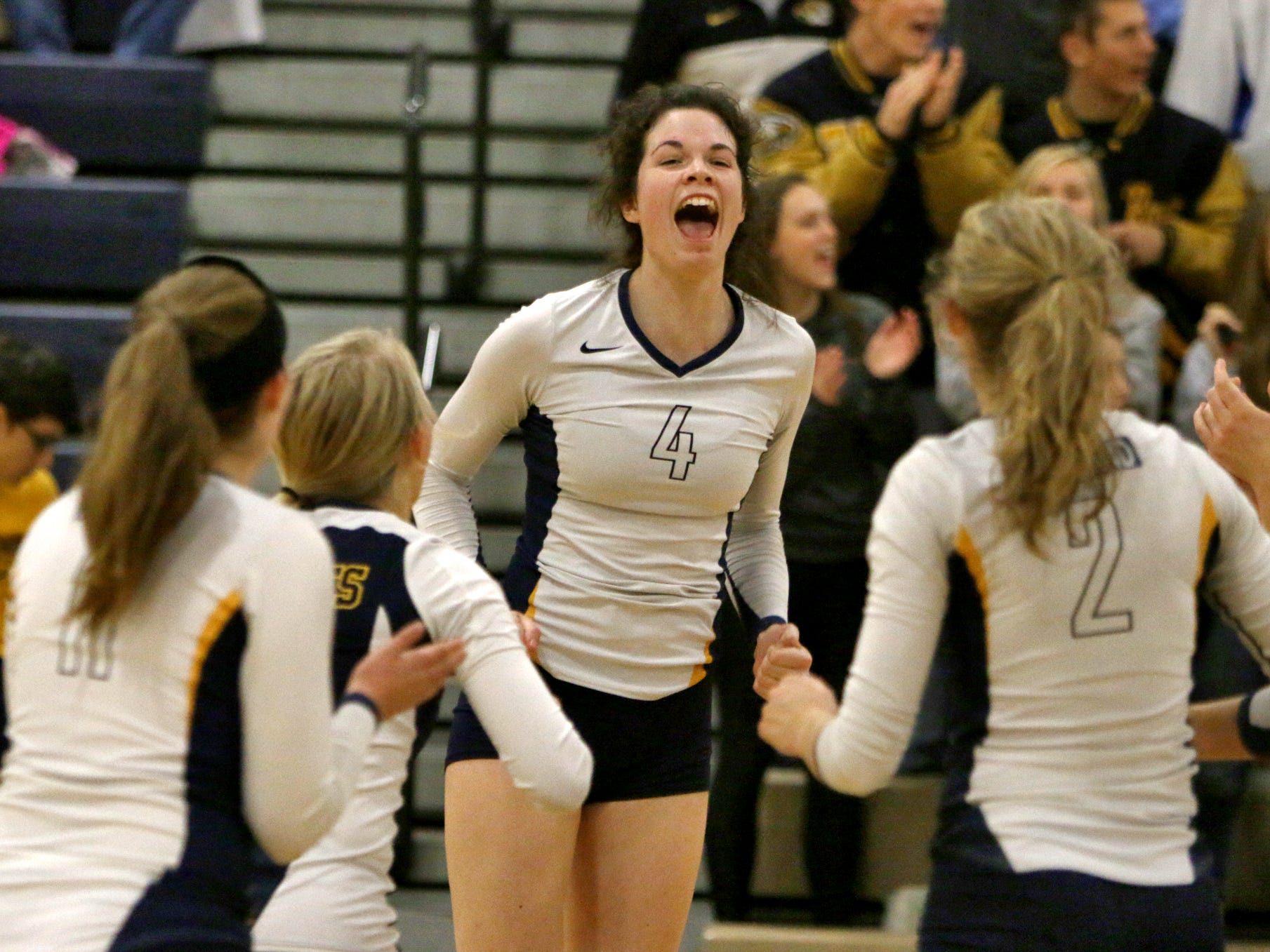 Sarah Skinner led Hartland's volleball team to a sweep of Brighton in a Class A district opener Monday night. The Eagles unseated their rivals in the Bulldogs, who entered as five-time defending district champions.