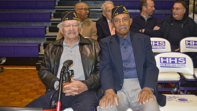 Clyde Bond and Joe Taylor, two WWII veterans remaining from American Legion Post 114, donated the money from the sale of the former post's land to Haywood High's Junior ROTC scholarship program.