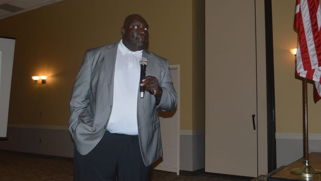 Southern Jaguars football coach Dawson Odums speaks to alumni at the Meet the Jaguars event Thursday in Alexandria.
