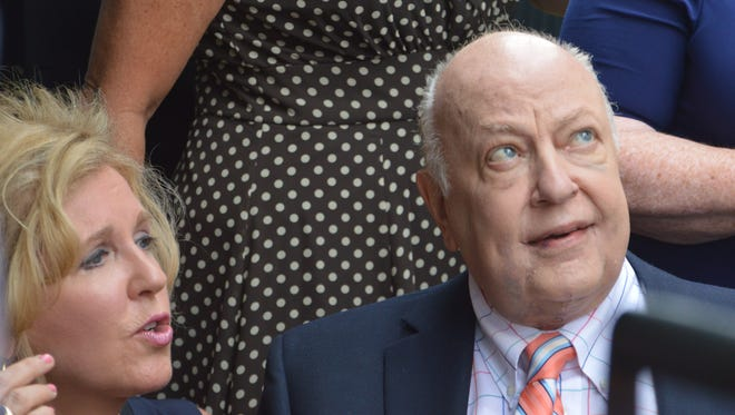 Roger and Beth Ailes, at the July 2015 groundbreaking for the Roger Ailes Senior Center, withdrew their $500,000 donation a day after Tax Watch questioned their control over the public project.