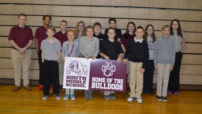 South Middle October students of the month are, front row from left: Drew Kayser, Autumn Morrow, Mabrey Rice, Luke Dalton, Rolando Marruquin and Shane O'Nan. Back row: Kobe Walker, Edmund Brooks, Dalton Cardwell, Abigail Salisbury, Austin Piper, Ashton Cunningham, Katelyn Franks, Julianne Latimer and Hannah Gorman. Not pictured: Hannah Stephens and Camille Crafton.