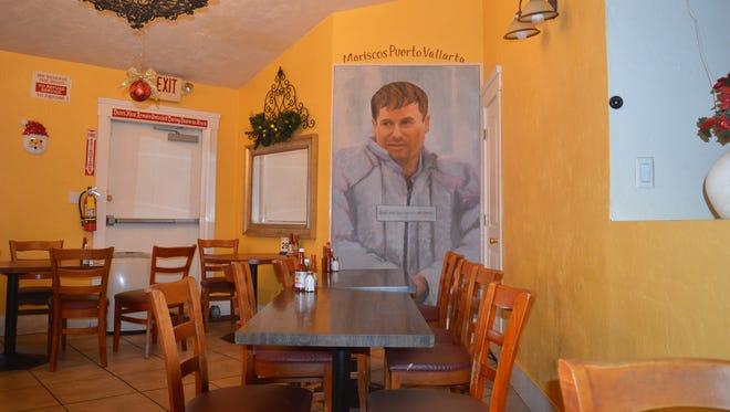 """El Chapo"" Guzman portrait at Puerto Vallarta restaurant in Tulare."