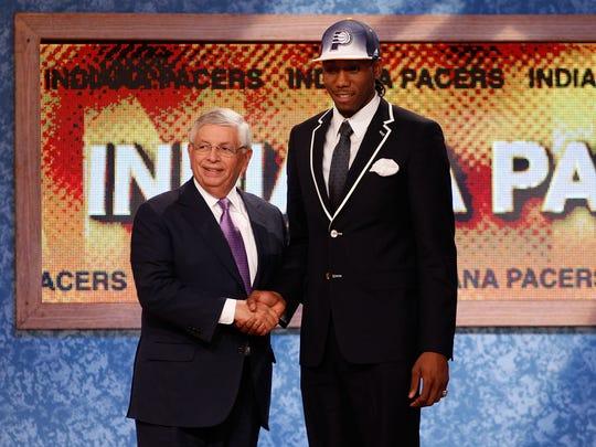 Kawhi Leonard didn't need his Pacers hat long.