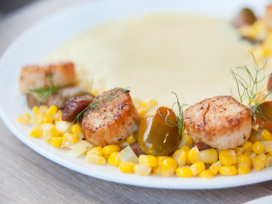 Seared Barnegat Light scallops with Jersey corn, sun gold and chocolate tomatoes, slab bacon, leeks, and sweet corn puree at The Farmhouse in Cherry Hill.  09.20.17