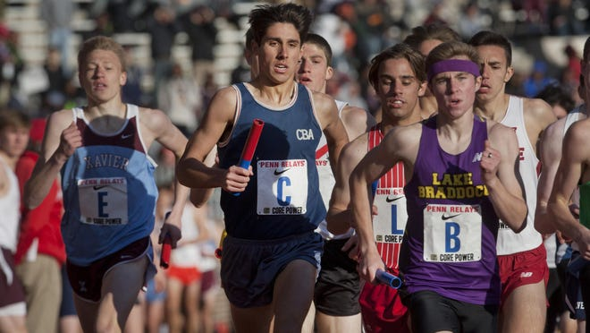 Peter Ackerman/Staff Photographer CBA's Drake Anzano does the first leg of the High School Boys Distance Medley. CBA finished third. CBA's Drake Anzano does the first leg of the High School Boys Distance Medley. CBA finished third. Friday at Penn Relays in Philadelphia Pa. on April 24, 2015. Peter Ackerman/Staff Photographer