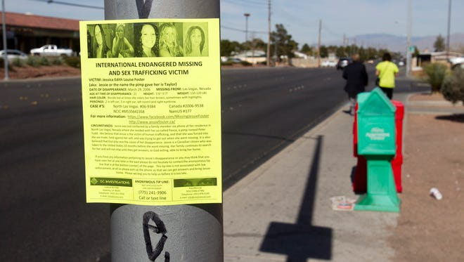 Flier about a missing woman in Las Vegas. Contrary to what the public believe, 72% of human-trafficking victims are Americans and not foreigners.