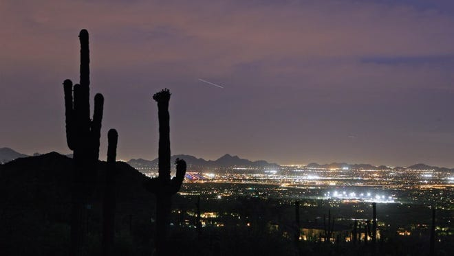 Lights from Scottsdale as seen from DC Ranch in Scottsdale 85255.