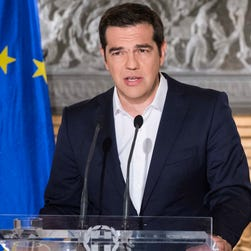 Greek Prime Minister Alexis Tsipras addressed the nation July 5, 2015, after the results of the referendum during a speech broadcast from his office in Athens,