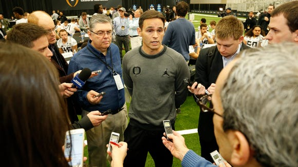 Jan 10, 2015; Arlington, TX, USA; Oregon Ducks receivers coach Matt Lubick answers questions during Media day for the Oregon Ducks at Dallas Convention Center. Mandatory Credit: Matthew Emmons-USA TODAY Sports