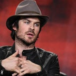 """Ian Somerhalder speaks on stage during the """"The Vampire Diaries"""" and """"The Originals"""" panel at The CW 2015 Winter TCA on Sunday, Jan. 11, 2015, in Pasadena, Calif. (Photo by Richard Shotwell/Invision/AP)"""