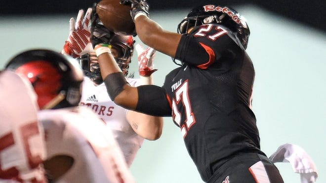 Maryville's T.D. Blackmon (27) makes an interception against Ravenwood during the Class 6A state high school football championship game at Tennessee Tech University in Cookeville on Saturday, Dec. 5, 2015. (ADAM LAU/NEWS SENTINEL)