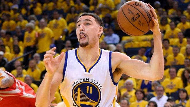 Klay Thompson appears to be just fine after taking a knee to the head.