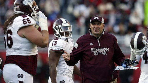 Mississippi State head coach Dan Mullen reacts to a penalty during the first half of an NCAA college football game against Alabama on Saturday, Nov. 15, 2014, in Tuscaloosa, Ala.