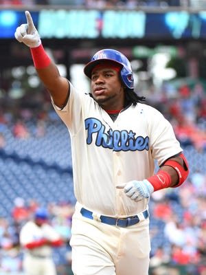 Philadelphia Phillies third baseman Maikel Franco celebrates his home run during the second inning Sunday against the Arizona Diamondbacks at Citizens Bank Park.