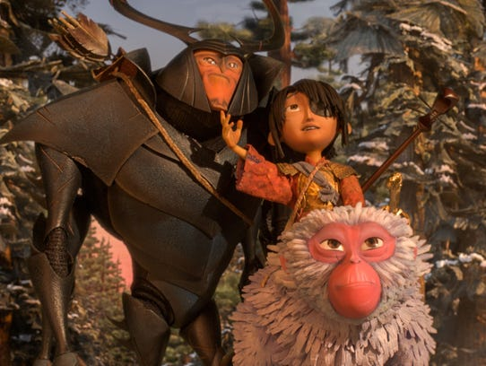 Beetle, Kubo, and Monkey emerge from the Forest and