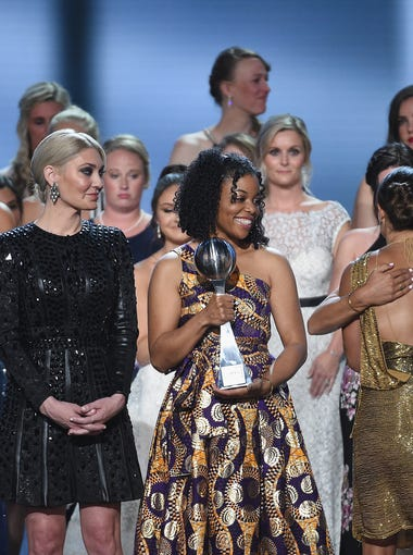 """Sister Survivors"" of the abuse of Larry Nassar received the Arthur Ashe Award for Courage."
