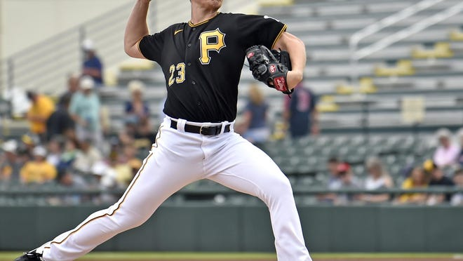 Pittsburgh Pirates starter Mitch Keller allows two runs on three hits and strikes out three batters in his first Spring Training start against the Boston Red Sox on Feb. 26, 2020, at LECOM Park in Bradenton.