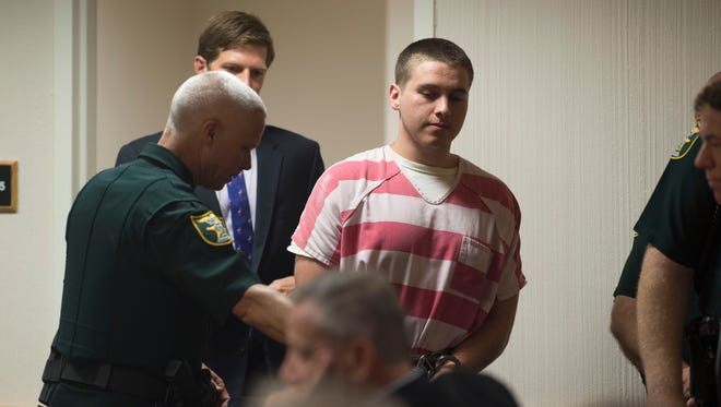 "Austin Harrouff, who is accused of murdering Jupiter couple John Stevens III and Michelle Mischon, attended a hearing related to his case Friday, Sept. 29, 2017 at the Martin County Courthouse in Stuart. From his hospital room before his arrest in 2016, Harrouff gave an interview to Phillip McGraw of the ""Dr. Phil Show"" discussing the crime and his mental state. Friday's hearing related to the episode, with prosecutors requesting copies of unaired footage."