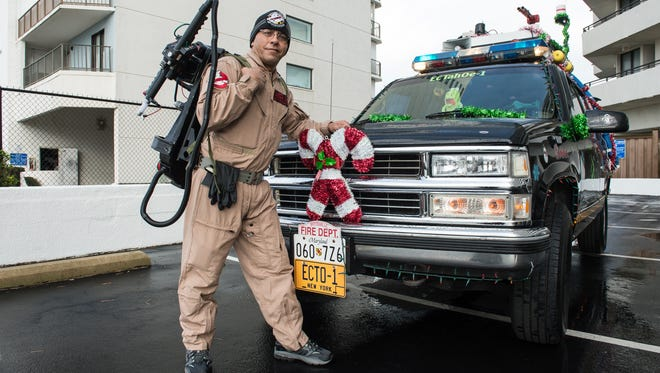 James Chamberlain, of Pittsville, poses for a photo with his vehicle, the ECTah0e-1 in Ocean City on Tuesday, Dec. 5, 2017.