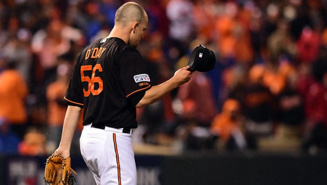 Darren O'Day gave up the go-ahead home run in the 10th inning of Game 1.