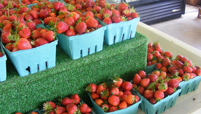 Fresh strawberries are stacked for sale Saturday at Risser-Marvel Farm Markets, located at 2425 Horseshoe Pike, South Londonderry Township. Customers will be able to pick their own strawberries at the market for at least another week.