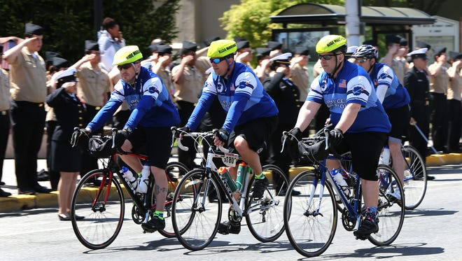 In Linden, Pilice Unity Tour participants stopped to honor the four Linden police officers, Angel Padilla, Peter Hammer, David Guzman and Mark Kahana who confronted and captured alleged terrorist Ahmad Khan Rahimi on Sept. 19, 2016.