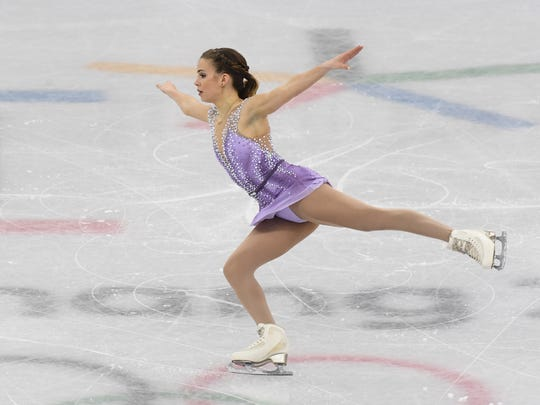 Isadora Williams (BRA) performs in the ladies figure skating short program during the Pyeongchang 2018 Olympic Winter Games at Gangneung Ice Arena.