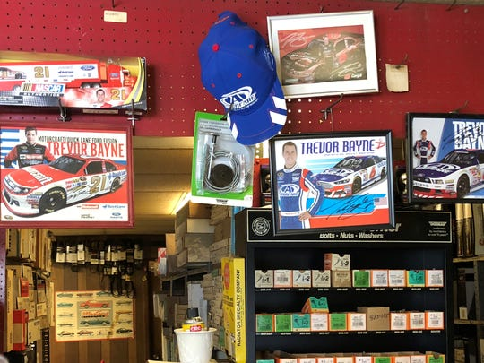 Memorabilia from local celebrity Trevor Bayne is featured
