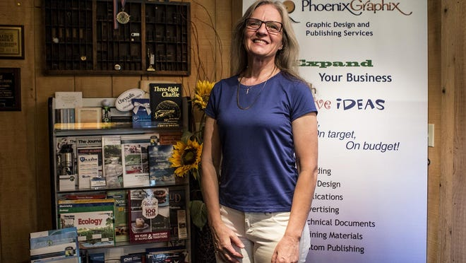 """Wendy Hollinger, owner of Phoenix Graphics. This year marks 30 years in business for her Granville-based Phoenix Graphix, a company that does """"anything that has to do with communication and marketing."""""""