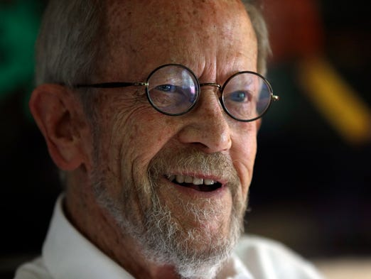 Author Elmore Leonard smiles during an interview at his home in Bloomfield Township, Mich., in September. Leonard died Aug. 20 from complications from a stroke. He was 87.