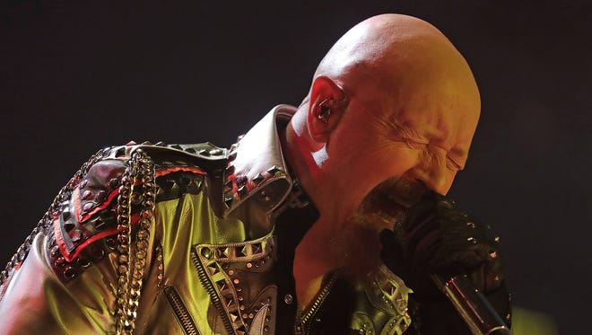 Judas Priest lead singer Rob Halford unleashes his vocals Thursday night at the Resch Center for the legendary metal band's first Green Bay tour stop since 1986.