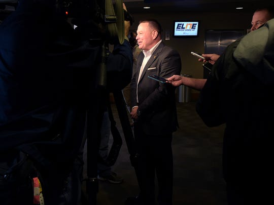 Tennessee coach Butch Jones talks with Nashville media about signing day at Nissan Stadium on Thursday, Feb. 2, 2017.
