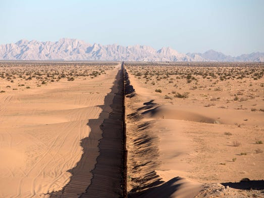 A section of the U.S./Mexico border fence is seen at