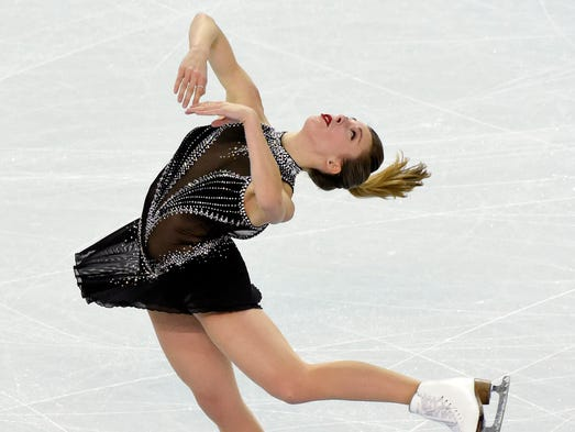 Ashley Wagner completes her free skate during team figure skating competition at the Winter Olympics in Sochi.